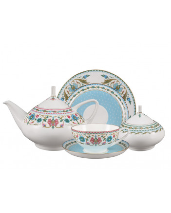 LOMONOSOV IMPERIAL BONE CHINA PORCELAIN TEA SET SERVICE ORIENTAL ORNAMENT DOME 20 items