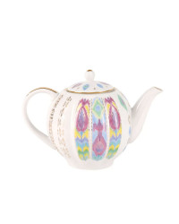 LOMONOSOV IMPERIAL PORCELAIN TEA SET SERVICE TULIP PEACOCK FEATHER 14 items