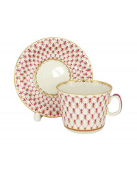 LOMONOSOV IMPERIAL PORCELAIN TEACUP AND SAUCER YOUTH RED NET 210 ML 7.1 OZ
