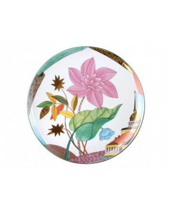 """LOMONOSOV IMPERIAL PORCELAIN DECORATIVE WALL PLATE BLOOMING CITY 275 mm 10.8"""""""