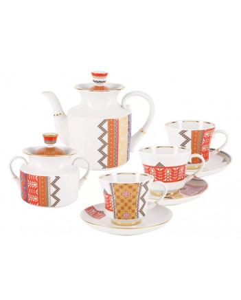 LOMONOSOV IMPERIAL PORCELAIN TEA SET SERVICE RUSSIAN STYLE 14 items