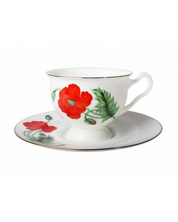 LOMONOSOV IMPERIAL BONE CHINA PORCELAIN TEA CUP AISEDORA RED POPPY 240 ml/8.12 fl.oz