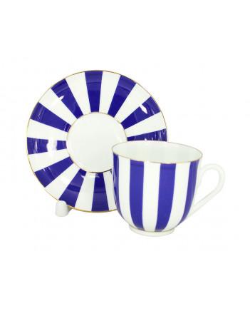 LOMONOSOV IMPERIAL BONE CHINA PORCELAIN ESPRESSO CUP YES AND NO COBALT BLUE 180 ml 6.1 fl.oz