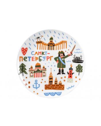 LOMONOSOV IMPERIAL PORCELAIN BABY SET 3PC: CUP, PLATE AND BOWL FUNNY SAINT PETERSBURG