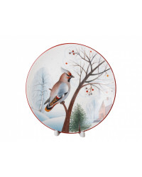 """LOMONOSOV IMPERIAL PORCELAIN DECORATIVE WALL PLATE WAXWING 195 mm 7.7"""""""