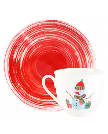 LOMONOSOV IMPERIAL BONE CHINA PORCELAIN ESPRESSO CUP SNOWMAN 180 ml 6.1 fl.oz