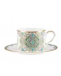 LOMONOSOV IMPERIAL PORCELAIN TEACUP AND SAUCER SOLO MAY LILY 300 ml/10.1 fl.oz