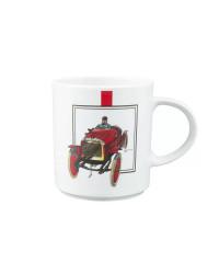 LOMONOSOV IMPERIAL PORCELAIN COFFEE LATTE HOT CHOCOLATE MUG RETRO CARS RED 370 Ml 12.5 Oz