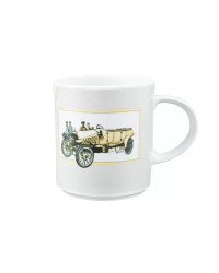 LOMONOSOV IMPERIAL PORCELAIN COFFEE LATTE HOT CHOCOLATE MUG RETRO CARS YELLOW 370 Ml 12.5 Oz