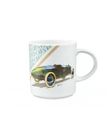 LOMONOSOV IMPERIAL PORCELAIN COFFEE LATTE HOT CHOCOLATE MUG RETRO CARS GREEN 370 Ml 12.5 Oz