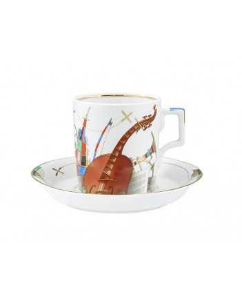 LOMONOSOV IMPERIAL PORCELAIN TEA SET SERVICE MUSICAL INSTRUMENTS 14 items