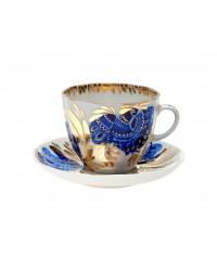 LOMONOSOV IMPERIAL PORCELAIN ESPRESSO COFFEE CUP AND SAUCER GOLDEN GARDEN TULIP 140 ML/4.7 OZ
