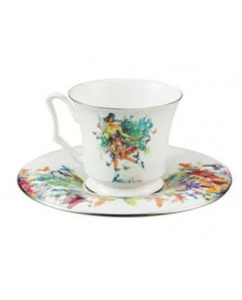 LOMONOSOV IMPERIAL BONE CHINA PORCELAIN ESPRESSO CUP YULIA SUMMER 145 ml/10.1 fl.oz