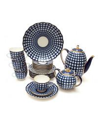 LOMONOSOV IMPERIAL PORCELAIN COFFEE SET SERVICE COBALT CELL TULIP 22 items
