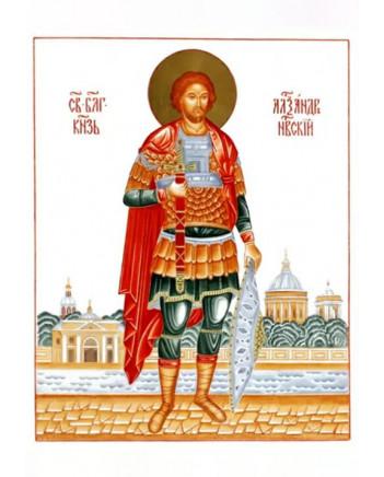 LOMONOSOV IMPERIAL PORCELAIN FLAT ICON SAINT ALEXANDER OF NEVA NEVSKIY