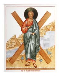 LOMONOSOV IMPERIAL PORCELAIN FLAT ICON SAINT ANDREW THE APOSTLE