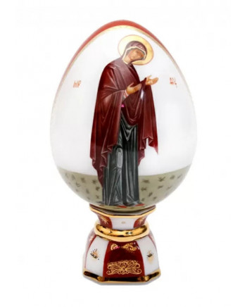 LOMONOSOV IMPERIAL PORCELAIN ICON EASTER EGG OUR LADY MARY MOTHER OF JESUS