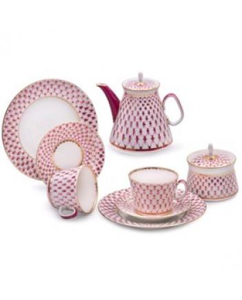 LOMONOSOV IMPERIAL PORCELAIN TEA SET SERVICE YOUYH RED NET 20 items