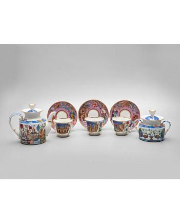 LOMONOSOV IMPERIAL PORCELAIN TEA SET SERVICE WONDER CITY 14 items
