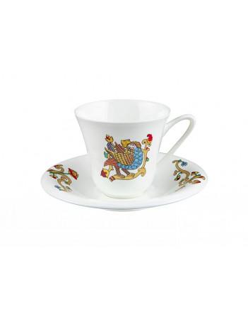 LOMONOSOV IMPERIAL BONE CHINA PORCELAIN ESPRESSO CUP FAIRYTALES SIRIN BIRD 200 ml/6.8 fl.oz