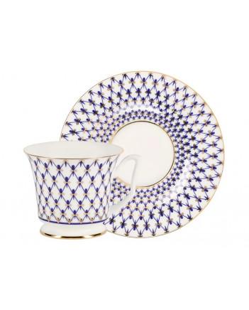 LOMONOSOV IMPERIAL BONE CHINA PORCELAIN TEA CUP YULIA COBALT NET 210 ml 7.1 fl.oz