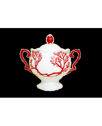 LOMONOSOV IMPERIAL BONE CHINA PORCELAIN TEA SET SERVICE NATASHA CORAL 20 items