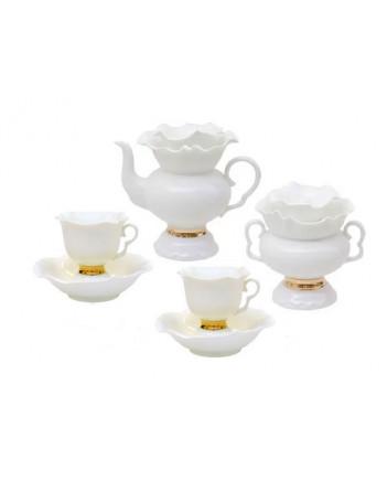 LOMONOSOV IMPERIAL BONE CHINA PORCELAIN TEA SET SERVICE GOLDEN EDGE WHITE FLOWER 14 items