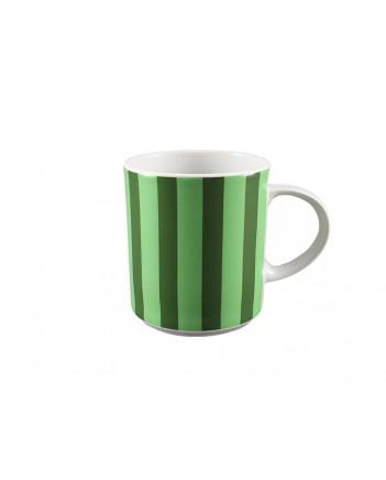 LOMONOSOV IMPERIAL PORCELAIN COFFEE LATTE HOT CHOCOLATE MUG GREEN STRIPES 370 ml 12.5 oz