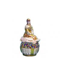 LOMONOSOV IMPERIAL PORCELAIN TREASURE JEWELERY BOX LADY IN GOLDEN PINK DRESS
