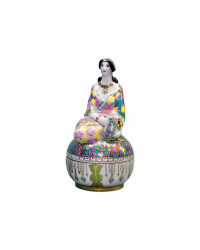 LOMONOSOV IMPERIAL PORCELAIN TREASURE JEWELERY BOX LADY IN BRIGHT SHAWL