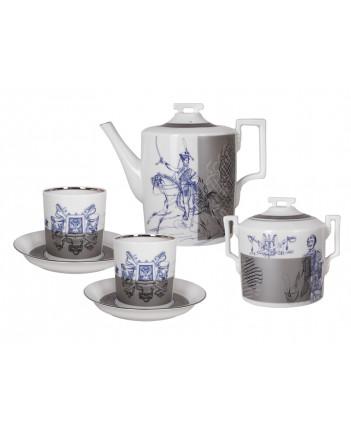 LOMONOSOV IMPERIAL PORCELAIN TEA SET SERVICE HUSSAR 14 items