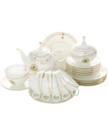 LOMONOSOV IMPERIAL BONE CHINA PORCELAIN TEA SET SERVICE GOLDEN MEDALLION APPLE 20 items