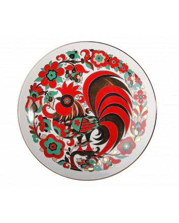 LOMONOSOV IMPERIAL PORCELAIN DECORATIVE WALL PLATE RED ROOSTER 195 mm/7.7