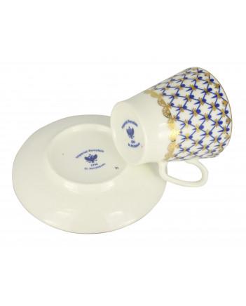 LOMONOSOV IMPERIAL BONE CHINA PORCELAIN ESPRESSO CUP BLACK COFFEE COBALT NET 80 ml/2.7 fl.oz