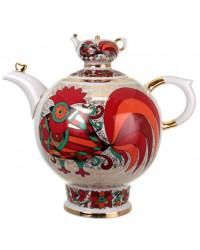 LOMONOSOV IMPERIAL PORCELAIN TEAPOT RED ROOSTER 9 CUPS 1800 ML 60.9 OZ