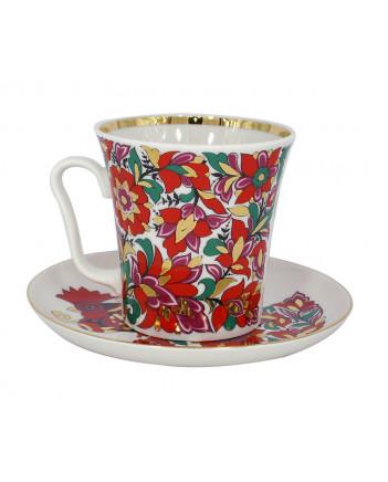 LOMONOSOV IMPERIAL PORCELAIN COFFEE LATTE HOT CHOCOLATE MUG RED ROOSTER 360 ml/12.2 fl.oz