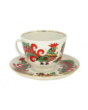 LOMONOSOV IMPERIAL PORCELAIN TEACUP AND SAUCER GIFT TWO ROOSTERS 350 ML 11.8 OZ