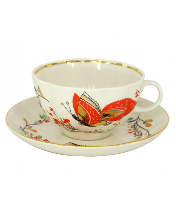 LOMONOSOV IMPERIAL PORCELAIN TEACUP AND SAUCER TULIP RED BUTTERFLY 250 ML/8.45 OZ