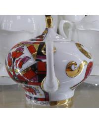 LOMONOSOV IMPERIAL PORCELAIN TEAPOT RED HORSE 1 CUP 250 ML/8.5 OZ