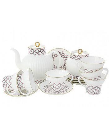 LOMONOSOV IMPERIAL BONE CHINA PORCELAIN TEA SET SERVICE PINK NET WAVE 20 items