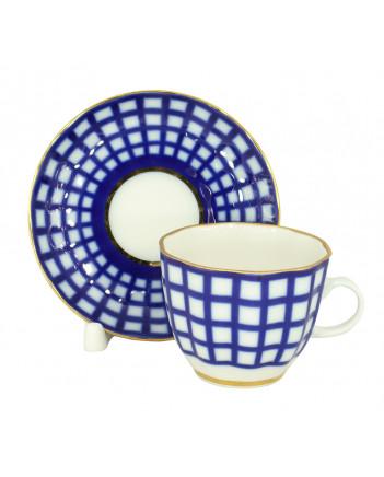LOMONOSOV IMPERIAL PORCELAIN ESPRESSO COFFEE CUP AND SAUCER COBALT CELL TULIP 140 ML/4.7 OZ