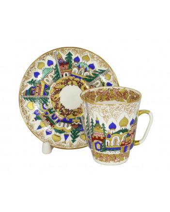 LOMONOSOV IMPERIAL BONE CHINA RARE PORCELAIN ESPRESSO CUP MAY OLD RUSSIAN ARCHITECTURE 165 ml/5.6 fl.oz