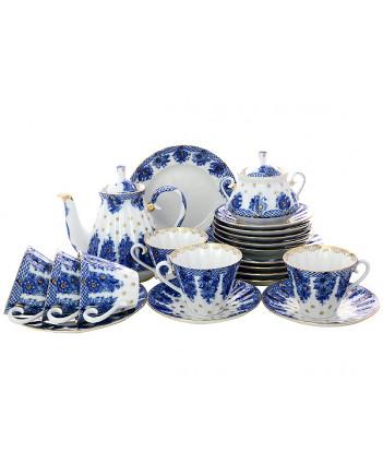 LOMONOSOV IMPERIAL PORCELAIN TEA SET SERVICE BASKET 20 items