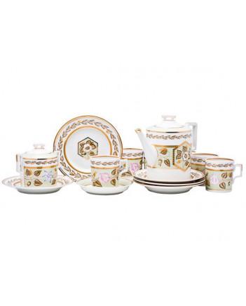 LOMONOSOV IMPERIAL PORCELAIN TEA SET SERVICE JADE BACKGROUND 20 items
