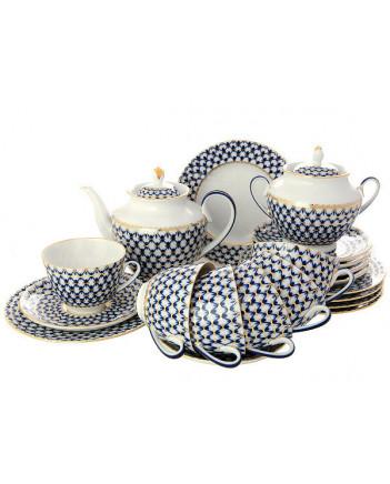 LOMONOSOV IMPERIAL PORCELAIN TEA SET SERVICE SPRING COBALT NET 20 items