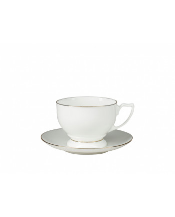 LOMONOSOV IMPERIAL BONE CHINA PORCELAIN TEA SET SERVICE GOLDEN EDGE PEARL 14 items