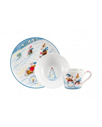 LOMONOSOV IMPERIAL PORCELAIN BABY SET 3PC: CUP, PLATE AND BOWL WINTER JAUNT