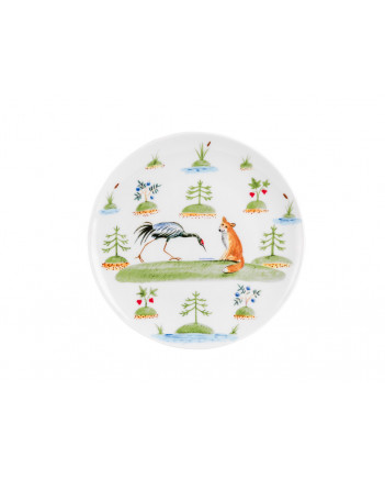 LOMONOSOV IMPERIAL PORCELAIN BABY SET 3PC: CUP, PLATE AND BOWL FOX AND CRANE FAIRYTALE