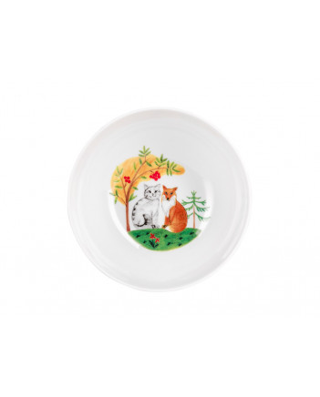 LOMONOSOV IMPERIAL PORCELAIN BABY SET 3PC: CUP, PLATE AND BOWL CAT AND FOX FAIRYTALY