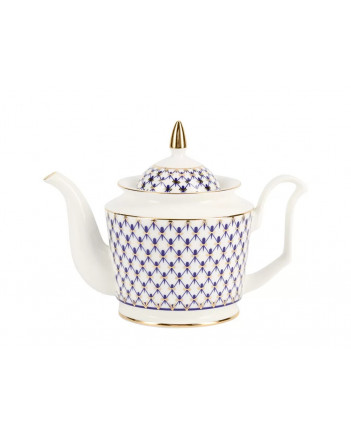 LOMONOSOV IMPERIAL BONE CHINA PORCELAIN TEA SET SERVICE COBALT NET YULIA 14 items
